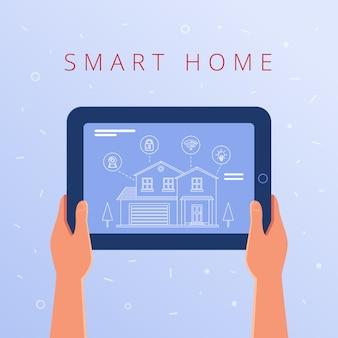 Une tablette avec des paramètres de maison intelligente et un système de contrôleurs.