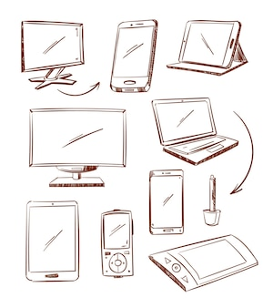 Tablette de périphérique dessiné à la main, pc, ordinateur portable, icônes de ligne de doodle de téléphone intelligent