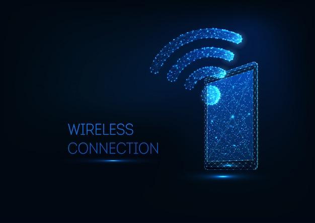 Tablette polygonale basse rougeoyante futuriste avec symbole wifi sur fond bleu foncé.