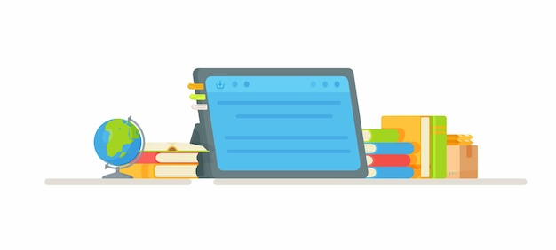 Une tablette scolaire sur la table. illustration de l'apprentissage.