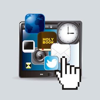 Tablette tactile avec icônes d'applications et vecteur de curseur main