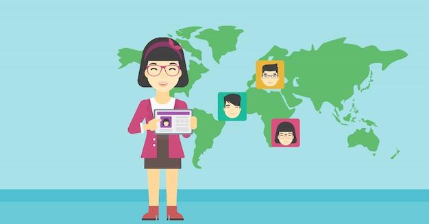 Tablette de tenue de femme avec réseau social.