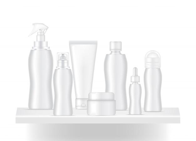 Tablette vierge réaliste pour montrer le produit de bouteille skincare avec ombre et lumière
