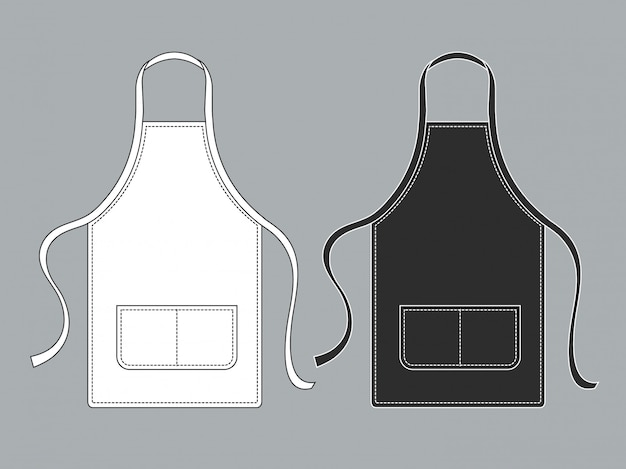 Tablier de chef. ensemble d'uniformes de chef tabliers culinaires noir blanc
