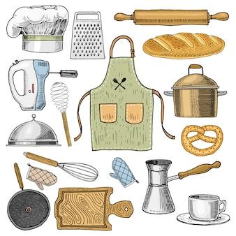 Tablier ou pinaphora et capuche, rouleau à pâtisserie et casserole ou corolle, planche de bois.