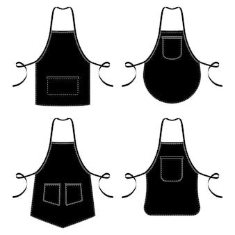Tabliers de cuisine noir et blanc isolés sur blanc
