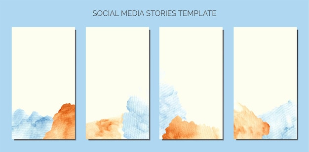 Tache abstraite d'aquarelle bleu et marron de bébé du modèle d'histoires de médias sociaux