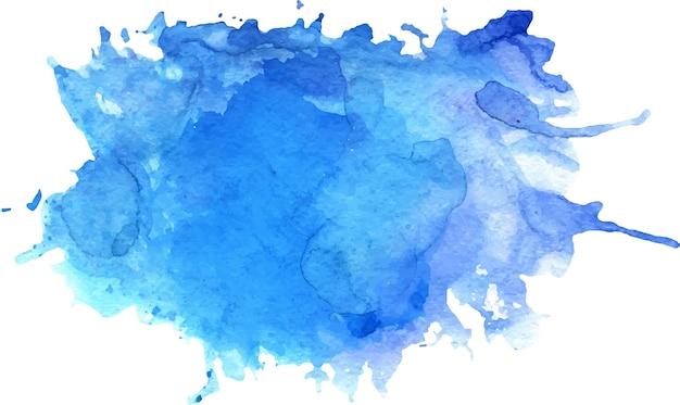 Tache bleue aquarelle avec des taches, texture du papier, isolé sur fond blanc