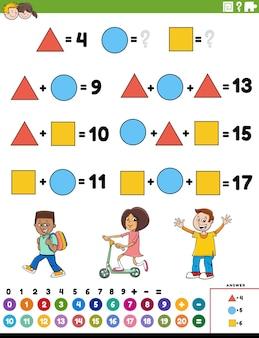 Tâche éducative additionnelle mathématique avec des personnages enfants