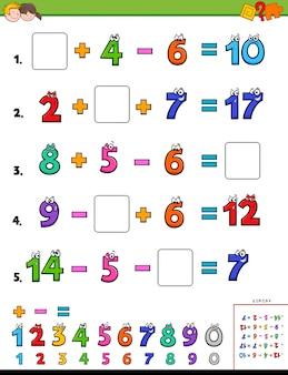 Tâche éducative de calcul de maths pour des enfants