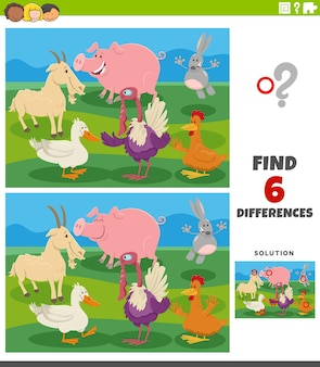 Tâche éducative des différences avec des animaux de ferme de dessin animé
