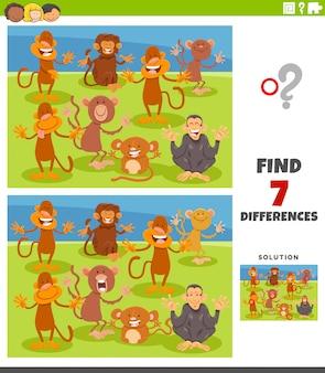 Tâche éducative de différences avec des singes de dessin animé