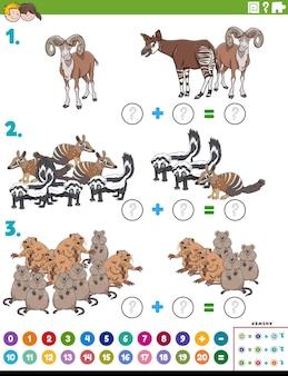 Tâche éducative en plus des mathématiques avec des personnages d'animaux de dessin animé