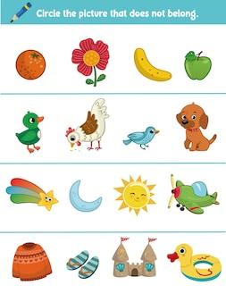 Tâche éducative pour les enfants encerclez l'image qui n'appartient pas illustration vectorielle