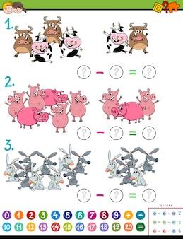 Tâche éducative de soustraction mathématique pour les enfants