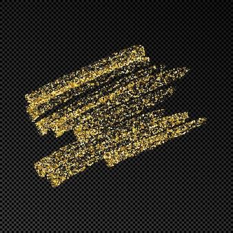Tache d'encre dessinée à la main en paillettes d'or. tache d'encre d'or avec des étincelles isolées sur fond transparent foncé. illustration vectorielle
