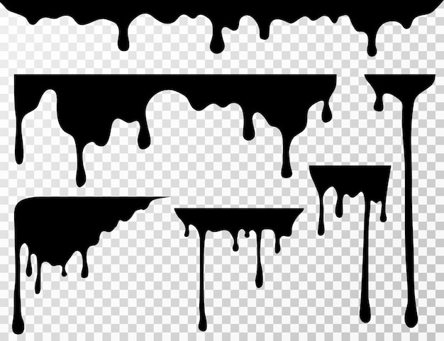 Tache d'huile noire dégoulinant, gouttes de liquide ou silhouettes d'encre de peinture actuelles isolées