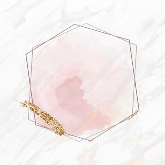 Tache de paillettes dorées sur un vecteur de cadre hexagonal