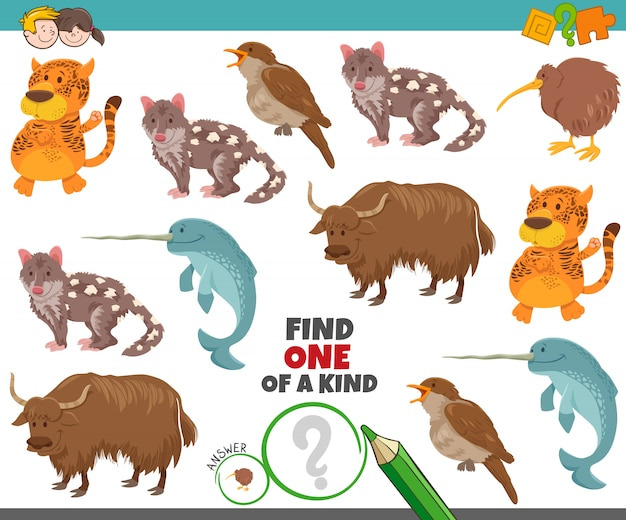 Une tâche unique pour les enfants avec des animaux de dessin animé