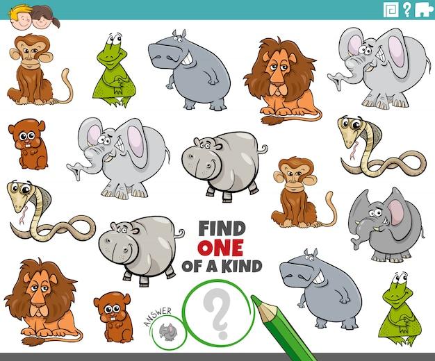 Une tâche unique pour les enfants avec des animaux drôles