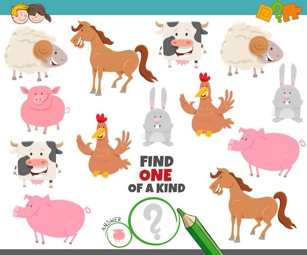Une tâche unique pour les enfants avec des animaux de ferme