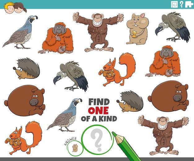 Une tâche unique pour les enfants avec des animaux sauvages