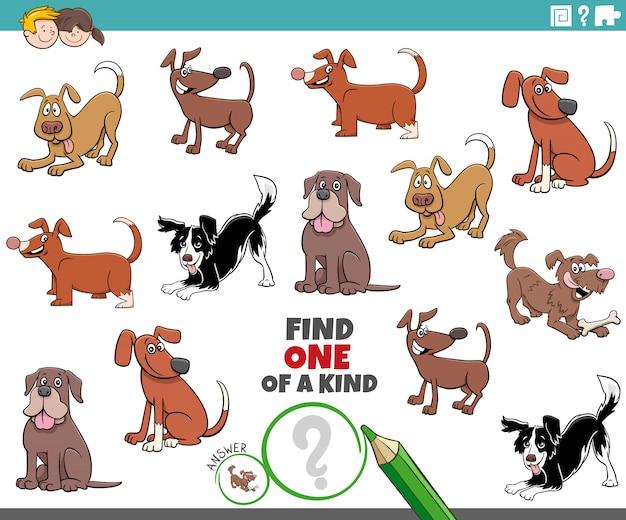 Une tâche unique pour les enfants avec des chiens et des chiots