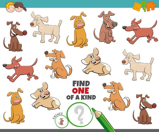 Une tâche unique pour les enfants avec des chiens