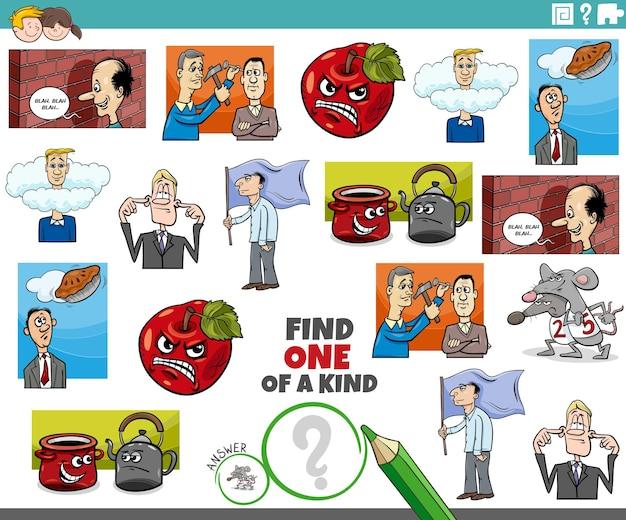 Tâche unique pour les enfants avec des dictons de dessins animés