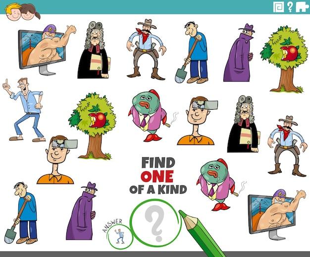 Tâche unique pour les enfants avec des personnages de dessins animés
