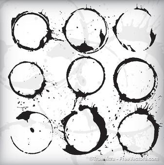 Taches circulaires en noir sur fond blanc