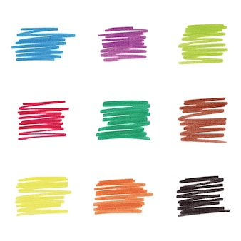 Taches de marqueur coloré, illustration vectorielle