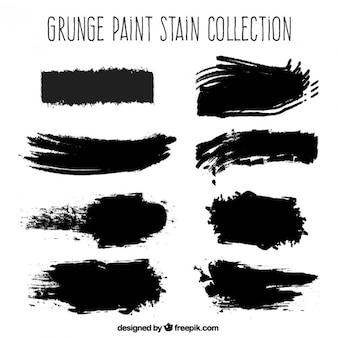 Taches de peinture noire grunge