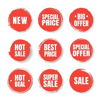 Taches rouges. promotion de prix de vente remise autocollant bannière aquarelle peinture style dessiné à la main.