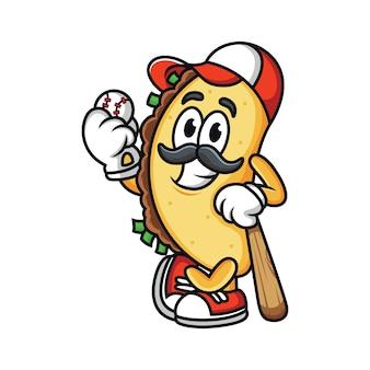 Taco de dessin animé tient une balle de baseball