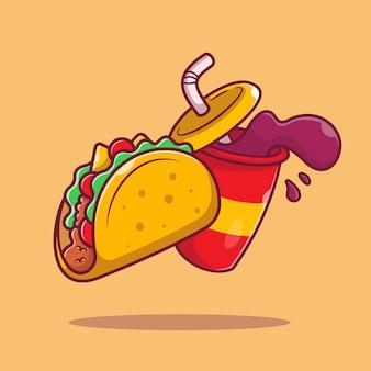 Taco avec illustration d'icône de dessin animé de soude. mexique food icon concept isolé. style de bande dessinée plat