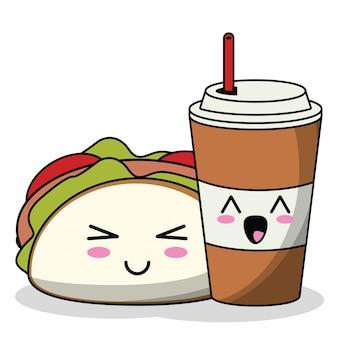 Taco kawaii avec tasse de soda image