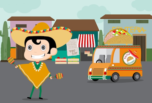 Taco man delivery food mexicain