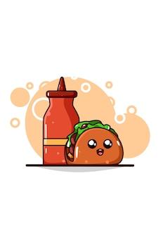 Taco mignon avec illustration de dessin animé de sauce
