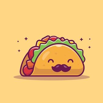 Taco moustache mascot cartoon illustration. caractère mignon de taco. concept alimentaire isolé