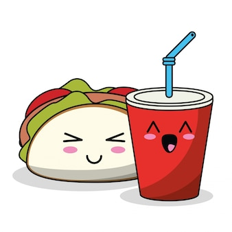 Taco et soda kawaii image