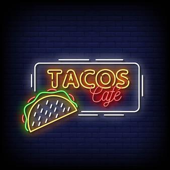 Tacos cafe neon signs style texte vecteur