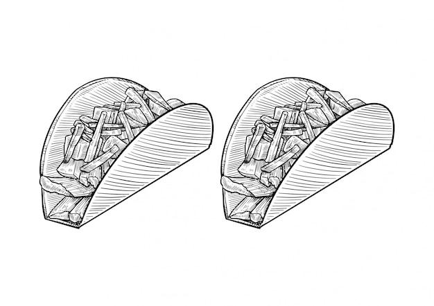 Tacos dessiné à la main