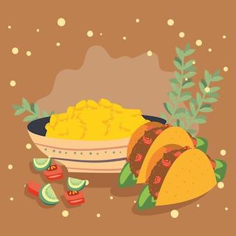 Tacos et maïs décortiqué
