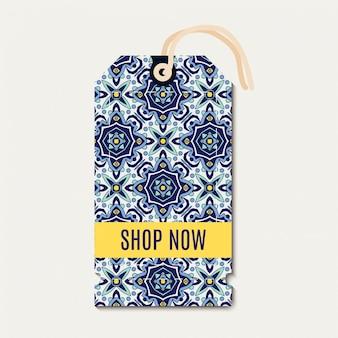Tag avec des azulejos d'ornement bleu portugais.