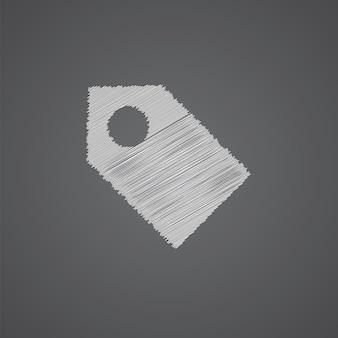 Tag croquis logo doodle icône isolé sur fond sombre