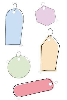 Tag enfantin vecteur rectangle carré ovale cercle croquis couleur pastel