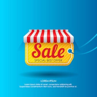 Tag avec la publicité de vente dans la conception