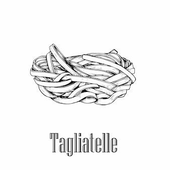 Tagliatelles de pâtes italiennes.