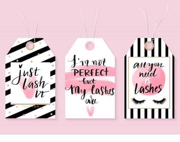 Tags de mode vecteur avec citations de cils. calligraphie pour les fabricants de cils